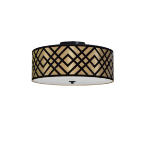 Mona Gold with Black Three-Light Flush Mount