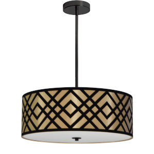 Mona Gold with Black 19-Inch Four-Light Pendant