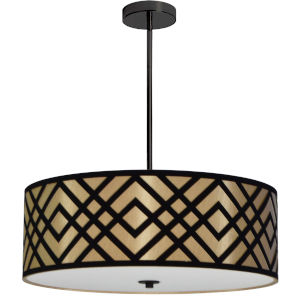 Mona Gold with Black 24-Inch Four-Light Pendant
