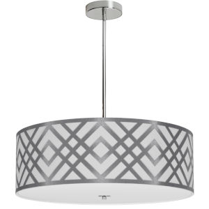 Mona White with Polished Chrome 24-Inch Four-Light Pendant
