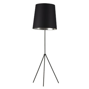 Tripod Matte Black with Silver One-Light Floor Lamp