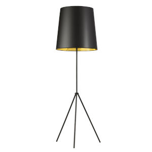 Tripod Matte Black with Black Gold One-Light Floor Lamp