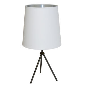 Tripod Matte Black 15-Inch One-Light Table Lamp with White Silver Shade