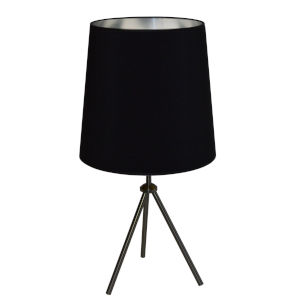 Tripod Matte Black 15-Inch One-Light Table Lamp with Black Silver Shade