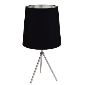 Tripod Satin Chrome 15-Inch One-Light Table Lamp with Black Silver Shade
