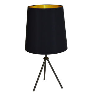 Tripod Matte Black 15-Inch One-Light Table Lamp with Black Gold Shade