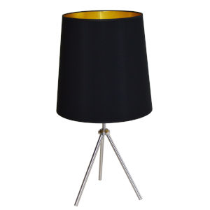 Tripod Satin Chrome 15-Inch One-Light Table Lamp with Black Gold Shade