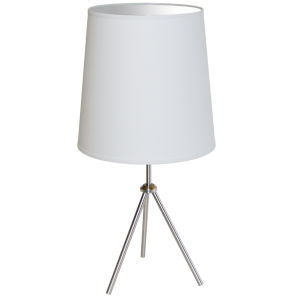 Tripod Satin Chrome 15-Inch One-Light Table Lamp with White Shade