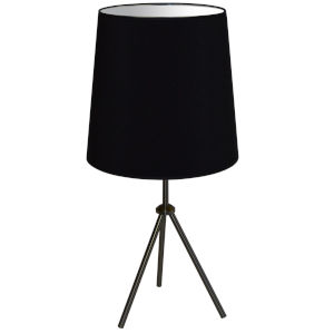Tripod Matte Black 15-Inch One-Light Table Lamp