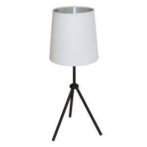 Tripod Matte Black 10-Inch One-Light Table Lamp with White Silver Shade