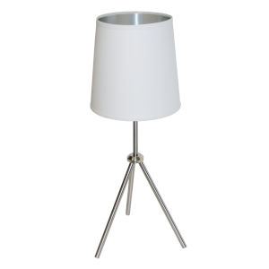 Tripod Satin Chrome 10-Inch One-Light Table Lamp with White Silver Shade