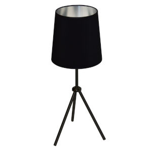 Tripod Matte Black 10-Inch One-Light Table Lamp with Black Silver Shade