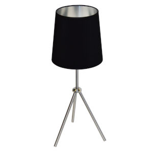 Tripod Satin Chrome 10-Inch One-Light Table Lamp with Black Silver Shade