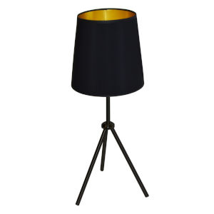 Tripod Matte Black 10-Inch One-Light Table Lamp with Black Gold Shade
