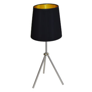 Tripod Satin Chrome 10-Inch One-Light Table Lamp with Black Gold Shade