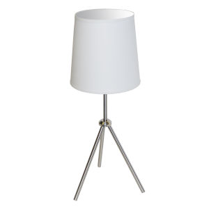 Tripod Satin Chrome 10-Inch One-Light Table Lamp with White Shade