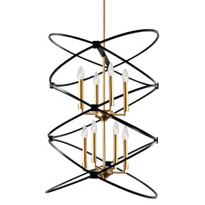 Paloma Vintage Bronze with Black Eight-Light Chandelier