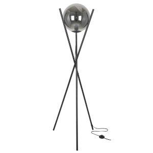 Pamela Matte Black with Smoke One-Light Floor Lamp