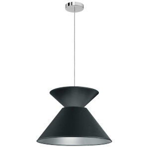 Patricia Polished Chrome with Black Silver One-Light Pendant