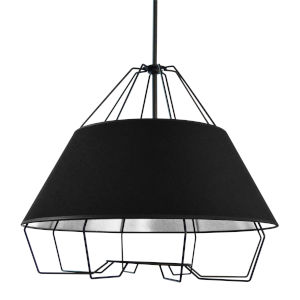 Rockwell Black Four-Light Pendant with Silver Shade