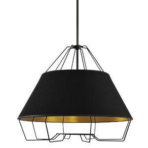 Rockwell Black Four-Light Pendant with Gold Shade
