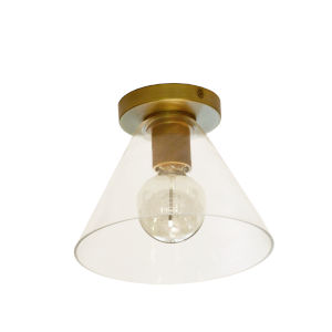 Roswell Aged Brass with Clear One-Light Flush Mount