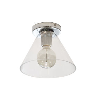 Roswell Polished Chrome with Clear One-Light Flush Mount