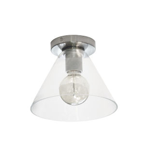 Roswell Satin Chrome with Clear One-Light Flush Mount