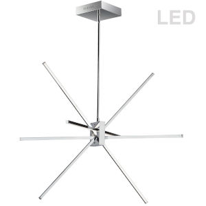 Summit Polished Chrome with White 28-Inch Four-Light LED Pendant