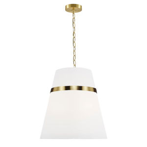 Symphony Aged Brass and White 18-Inch Three-Light Pendant