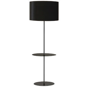 Tablero Matte Black with White One-Light Floor Lamp with Round Shelf