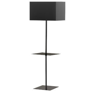 Tablero Matte Black with White One-Light Floor Lamp with Square Shelf