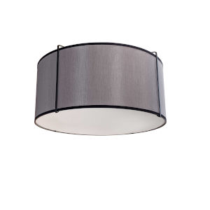 Trapezoid Black with Grey Two-Light Flush Mount