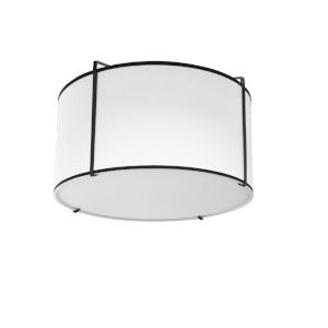 Trapezoid Black with White Two-Light Flush Mount