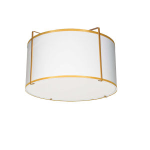 Trapezoid White with Gold Two-Light Flush Mount