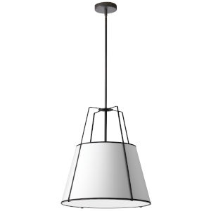 Trapezoid Black with White One-Light Pendant