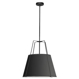 Trapezoid Black One-Light Pendant with Round Shade