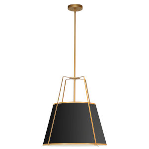 Trapezoid Gold and Black One-Light Pendant with Round Shade