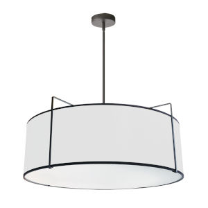 Trapezoid Black with White Four-Light Pendant