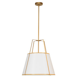 Trapezoid Gold and White 18-Inch Three-Light Pendant