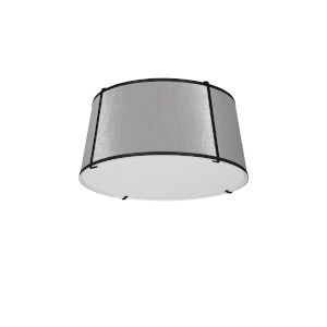 Trapezoid Black with Grey Three-Light Flush Mount