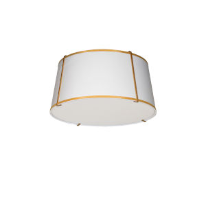 Trapezoid White with Gold Three-Light Flush Mount