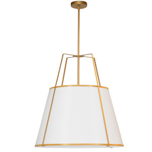 Trapezoid White with Gold Three-Light Pendant