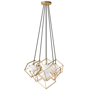 Thomson Gold with White Six-Light Pendant