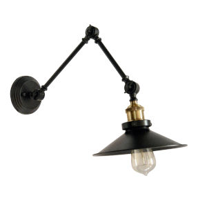 Black with Vintage Bronze One-Light Wall Sconce