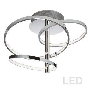 Valarie Polished Chrome with White Three-Light LED Semi-Flush Mount