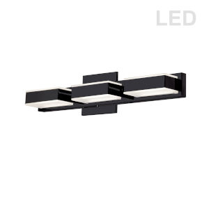 Matte Black Three-Light LED Bath Vanity