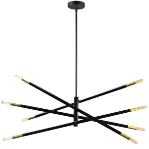Wand Matte Black with Aged Brass Eight-Light Pendant