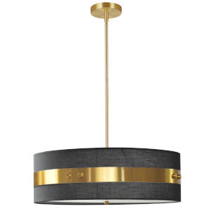 Willshire Black with Aged Brass One-Light Pendant