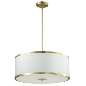 Zuri Aged Brass with White Four-Light Pendant